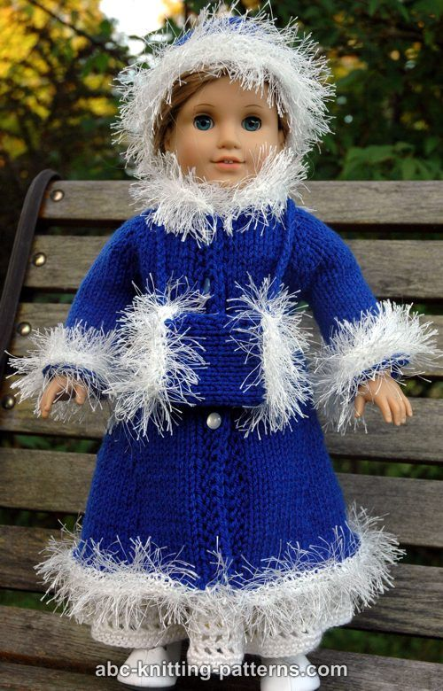 ABC Knitting Patterns - American Girl Doll Retro Winter Outfit (Coat ...