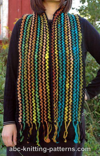 Free Crochet Pattern For Zig Zag Scarf : ABC Knitting Patterns - Zig-Zag Scarf with Crocheted Fringe