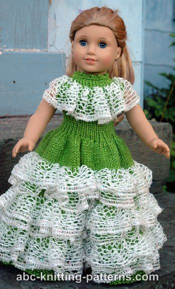 Abc Knitting Patterns American Girl Doll Southern Belle Dress