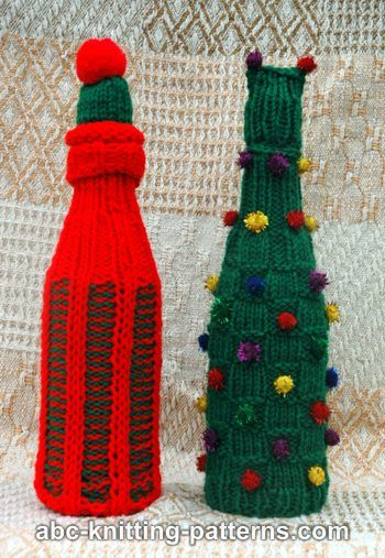 Abc Knitting Patterns Christmas Wine Bottle Sweaters And Hats