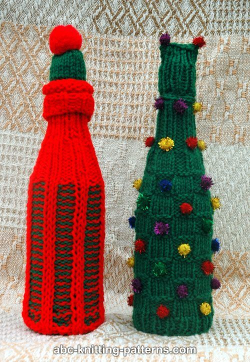 Knitting Pattern Wine Bottle Cover : ABC Knitting Patterns - Christmas Wine Bottle Sweaters and Hats