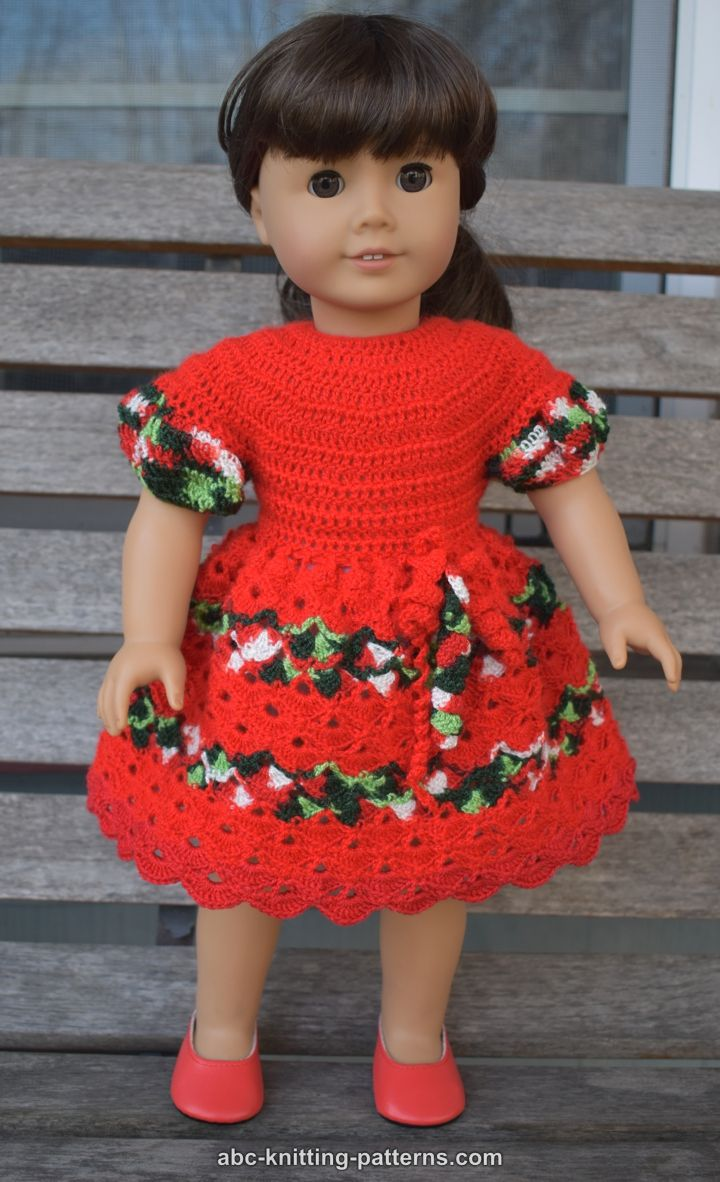 Abc Knitting Patterns For American Doll : ABC Knitting Patterns - American Girl Doll Perfect Christmas Dress