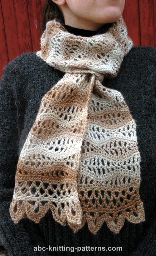 ABC Knitting Patterns - Stormy Sea Lace Scarf