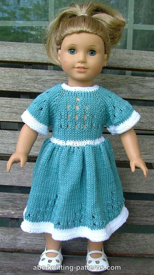 Abc Knitting Patterns For American Doll : ABC Knitting Patterns - American Girl Doll Eyelet Dress