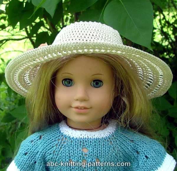 ABC Knitting Patterns - American Girl Doll Summer Breeze Hat