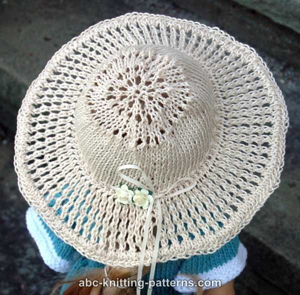 Knitting Pattern For A Dolls Hat : ABC Knitting Patterns - American Girl Doll Summer Breeze Hat (Knit Version)