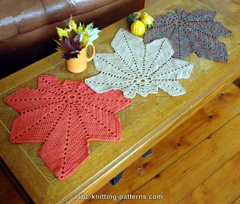 Abc Knitting Patterns Chestnut Leaf Table Runner And Placemats