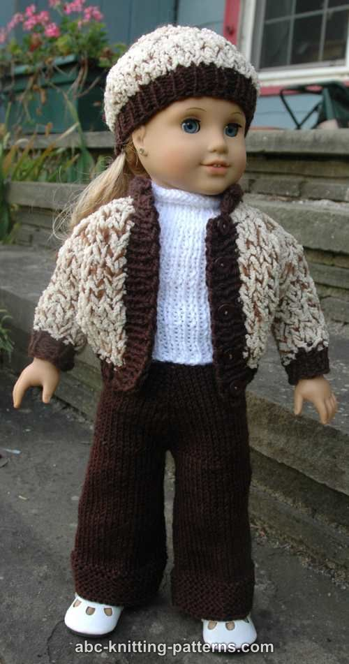 Knitting Pattern For Dolls Trousers : ABC Knitting Patterns - American Girl Doll Sporty Snowsuit (Jacket, Pants and...