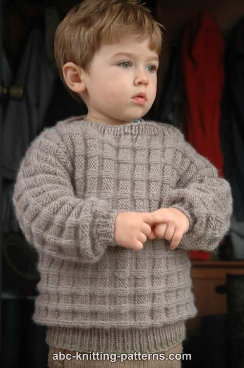 Knitting Patterns For Toddler Boy Sweaters : ABC Knitting Patterns - Little Boys Cuff-to-Cuff Sweater