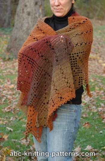 Abc Knitting Patterns Autumn Leaves Filet Crochet Shawl