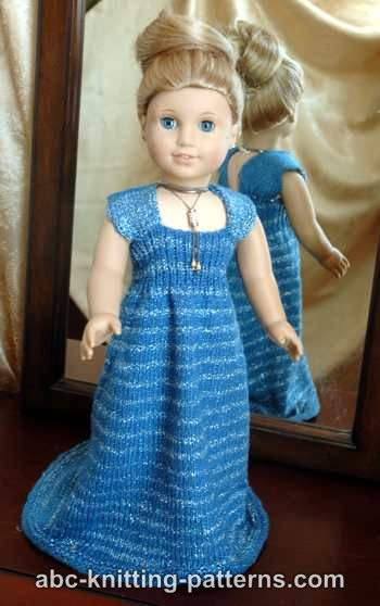 Abc Knitting Patterns American Girl Doll Evening Dress With Train