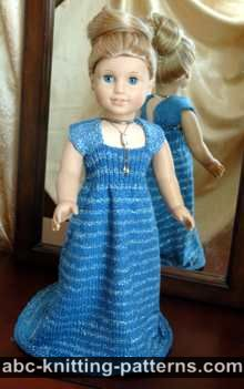 American Girl Doll Evening Dress with Train