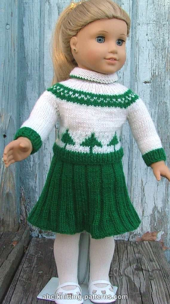 Knitting Pattern For Doll Sweater : ABC Knitting Patterns - American Girl Doll Colorwork Sweater