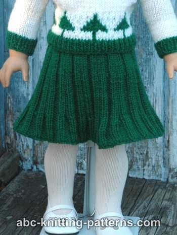 ABC Knitting Patterns - American Girl Doll Pleated Skirt