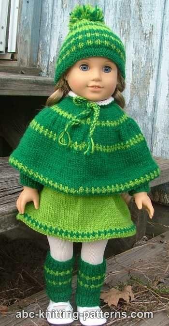 ABC Knitting Patterns - American Girl Doll Christmas Carol Outfit (Skirt, Cap...