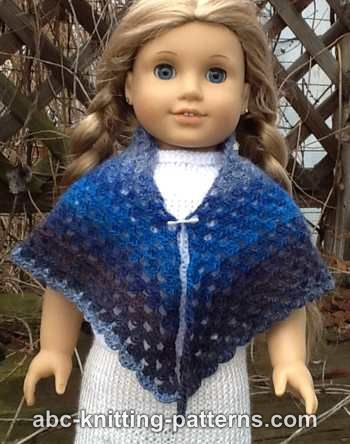 ABC Knitting Patterns - American Girl Doll Granny Shawl.