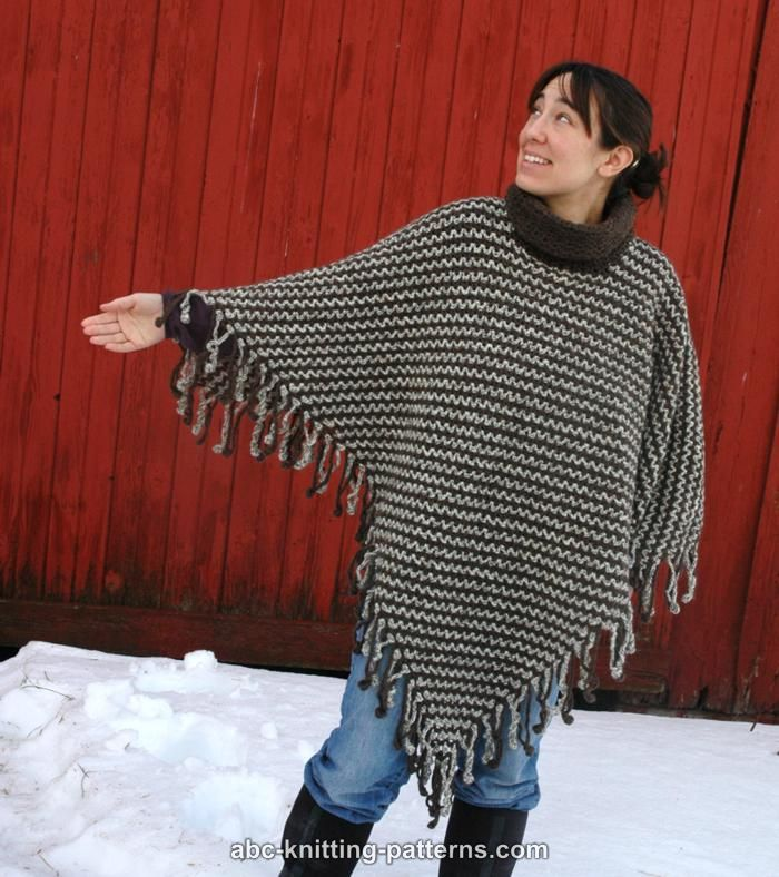 Abc Knitting Patterns Two Color Poncho With Crochet Fringe
