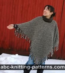 Two-Color Poncho with Crochet Fringe
