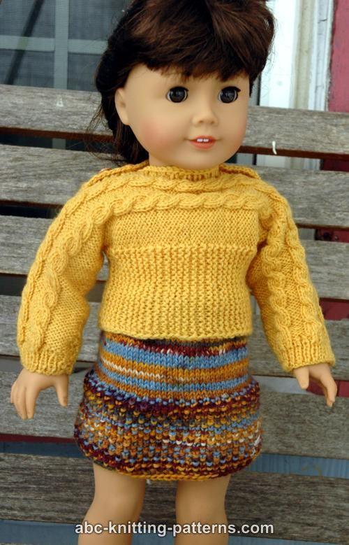 Knitting Pattern For American Girl Doll Skirt : ABC Knitting Patterns - American Girl Doll Seed Stitch Skirt