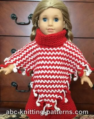 Knitting Pattern For American Girl Doll Poncho : ABC Knitting Patterns - American Girl Doll V-Stitch Two-Color Poncho with Cro...