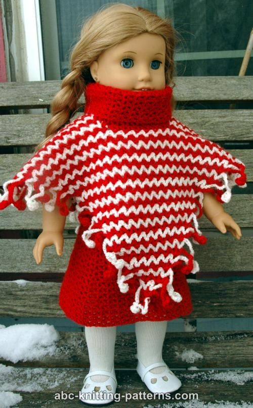 ABC Knitting Patterns - American Girl Doll V-Stitch Two-Color Poncho with Cro...