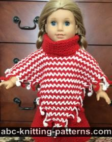 American Girl Doll V-Stitch Two-Color Poncho with Crochet Fringe