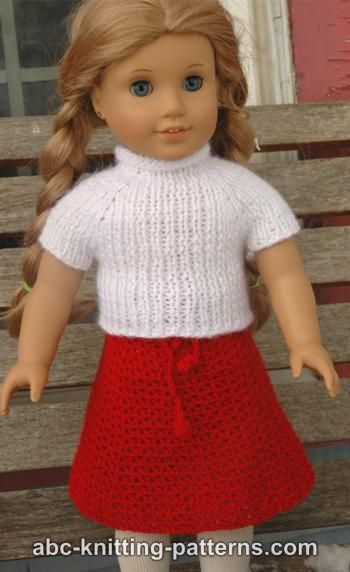 Abc Knitting Patterns American Girl Doll Real Easy V Stitch Skirt
