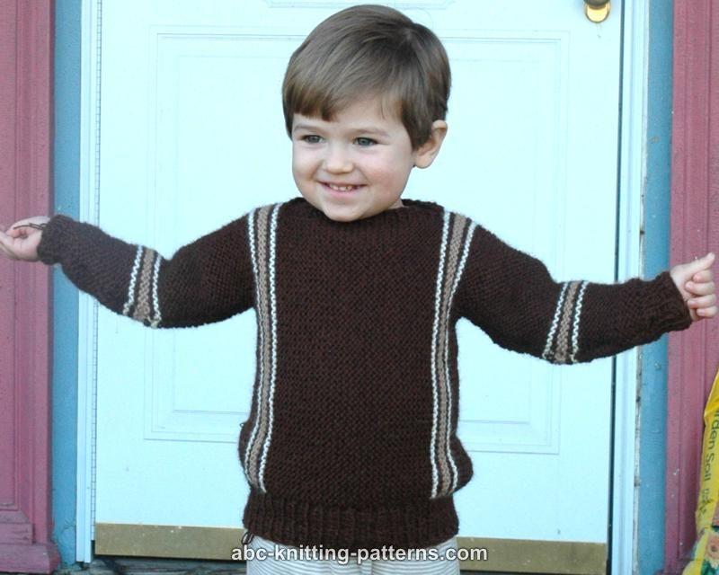 791c54a009ae4 ABC Knitting Patterns - Easy Child s Garter Stitch Cuff-to-Cuff Sweater