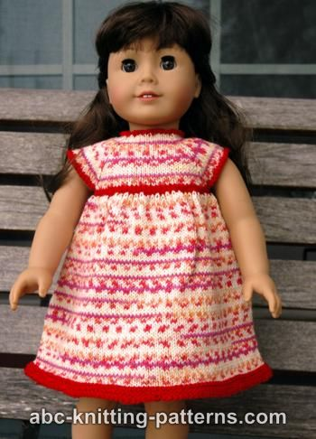 ABC Knitting Patterns - American Girl Doll Carolina Summer Dress.