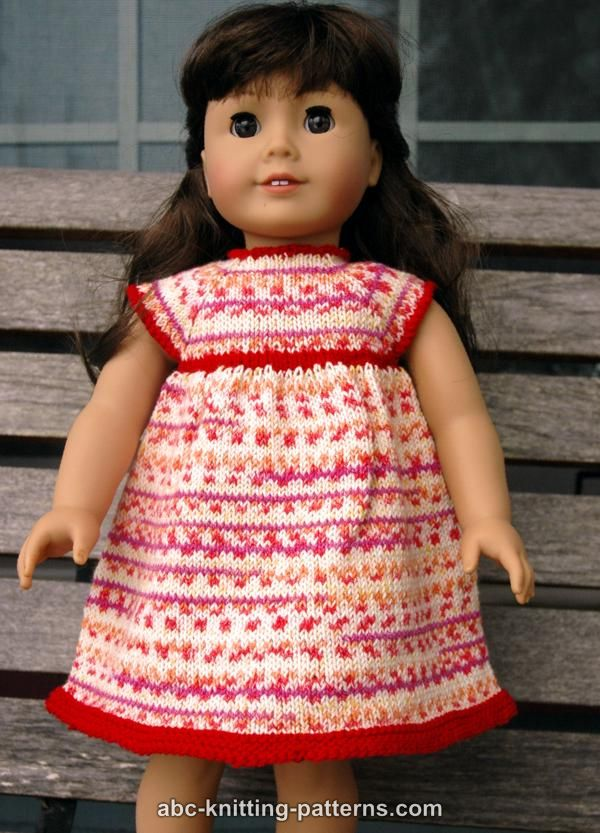 ABC Knitting Patterns - American Girl Doll Carolina Summer Dress