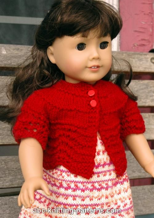 ABC Knitting Patterns - American Girl Doll Hamptons Summer Cardigan