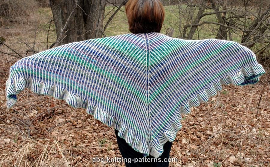 ABC Knitting Patterns - Reversible Brioche Shawl with Tulip Ruffle