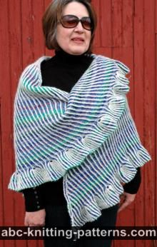 Reversible Brioche Shawl with Tulip Ruffle