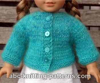American Girl Doll Basic Top-Down Raglan Cardigan