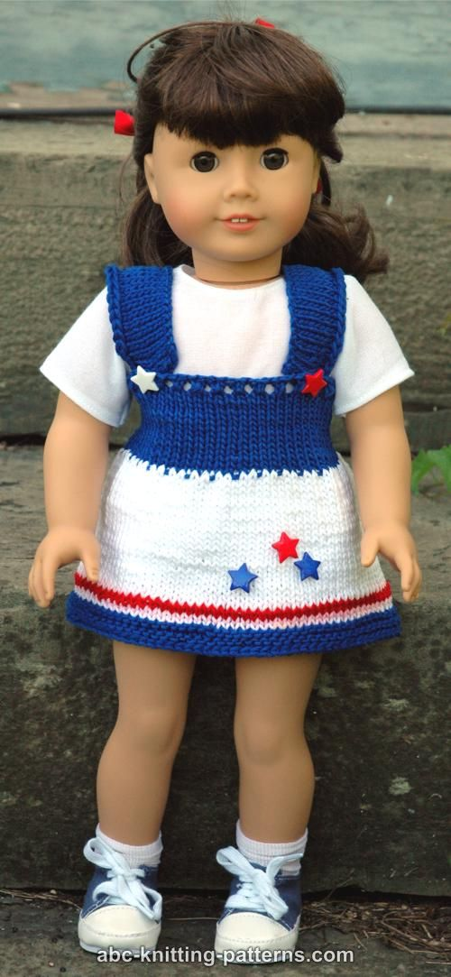 Free Knitting Pattern Dolls Jumper : ABC Knitting Patterns - American Girl Doll 4th of July Jumper