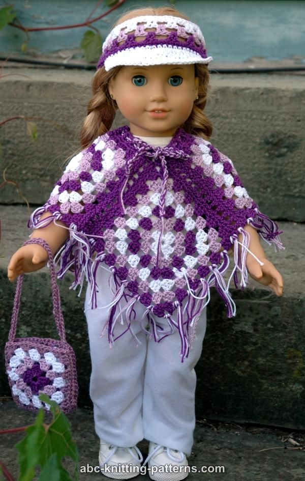 Abc Knitting Patterns American Girl Doll Granny Square Poncho