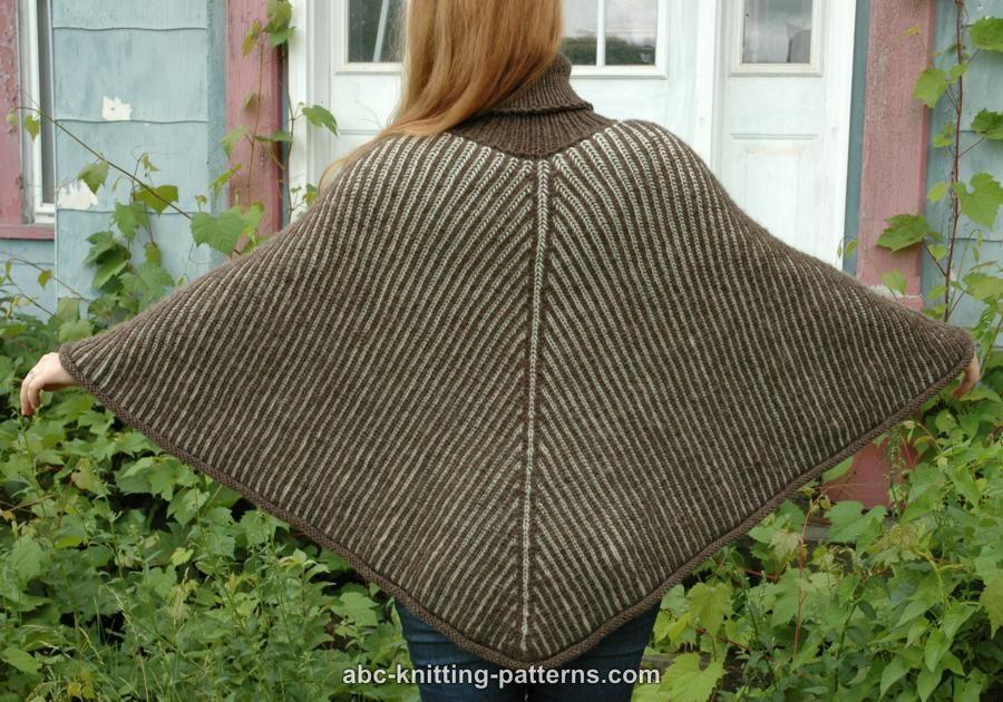 ABC Knitting Patterns - Reversible Brioche Poncho