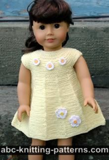 American Girl Doll Garter Stitch Summer Dress