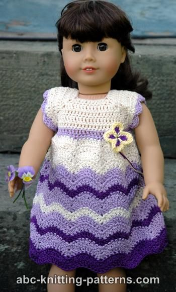 Abc Knitting Patterns American Girl Doll Wisteria Chevron Dress