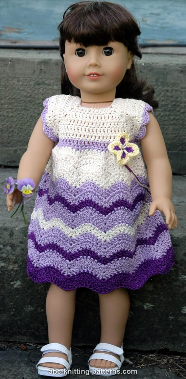 Free Knitting Patterns For Doll Clothes 18 Ins : ABC Knitting Patterns - American Girl Doll Wisteria Chevron Dress