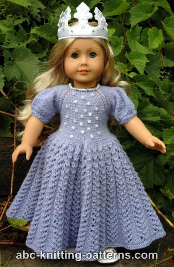 ABC Knitting Patterns - American Girl Doll Snow Princess Dress