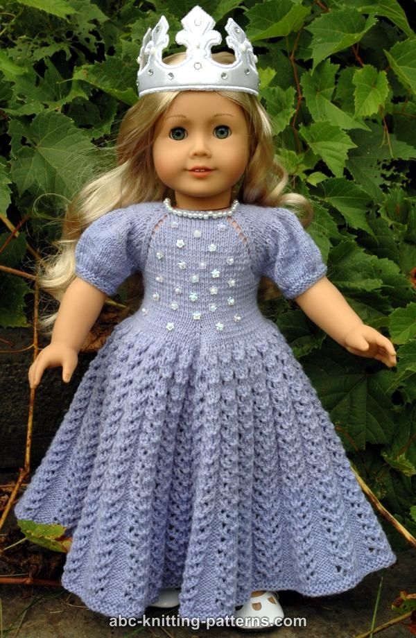 Knitting Patterns For American Doll Clothes : ABC Knitting Patterns - American Girl Doll Snow Princess Dress