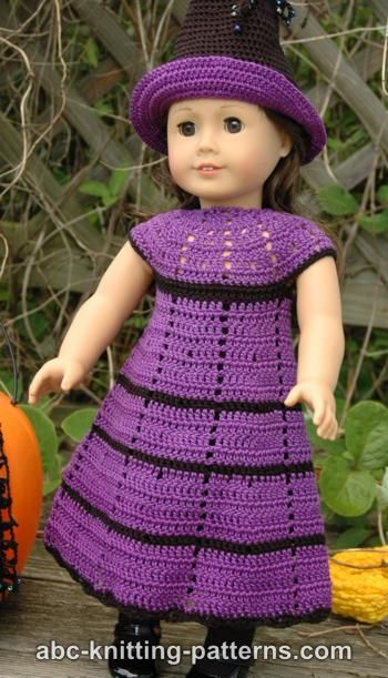 Abc Knitting Patterns For American Doll : ABC Knitting Patterns - American Girl Doll Witchs Dress