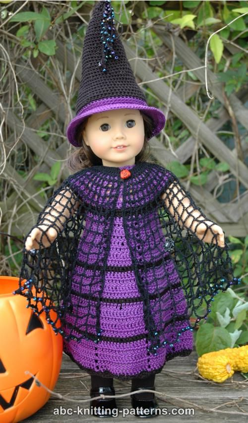Free Knitting Pattern Witch Doll : ABC Knitting Patterns - American Girl Doll Witchs Cloak