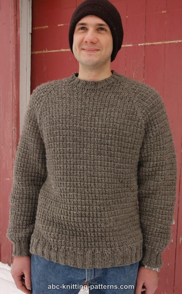 Abc Knitting Patterns Mens Raglan Woodsman Sweater