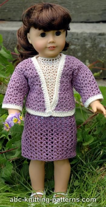 Abc Knitting Patterns For American Doll : ABC Knitting Patterns - American Girl Doll Crochet English Garden Suit (Skirt...
