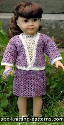 American Girl Doll Crochet English Garden Suit (Skirt and Cardigan)