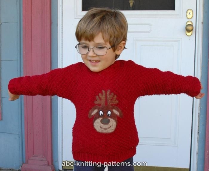 Abc Knitting Patterns Cuff To Cuff Childrens Christmas Sweater