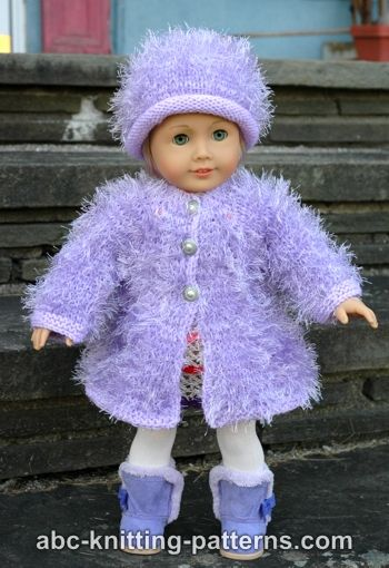 Knitting Pattern For Dolls Coat : ABC Knitting Patterns - American Girl Doll Fur Coat