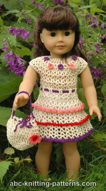 American Girl Doll Wildflower Dress with Ruffles and Drawstring Handbag